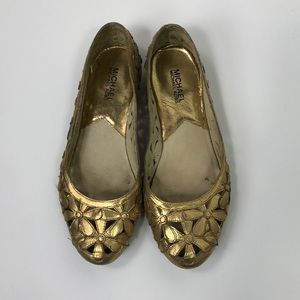Michael Kors Gold Flower Flats